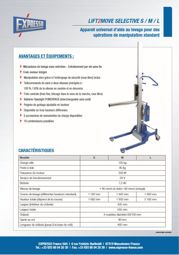 pdf picture from LIFT2MOVE caractéristiques